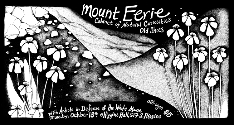 Mount Eerie, Cabinet of Natural Curiosities, Old Shoes, Artists in Defense of the White Moose, flyer illustration by Jasmine Dreame Wagner