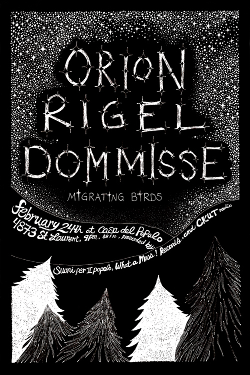 Orion Rigel Dommisse and Migrating Birds at Casa Del Popolo, Montreal, Quebec, poster illustration by Jasmine Dreame Wagner